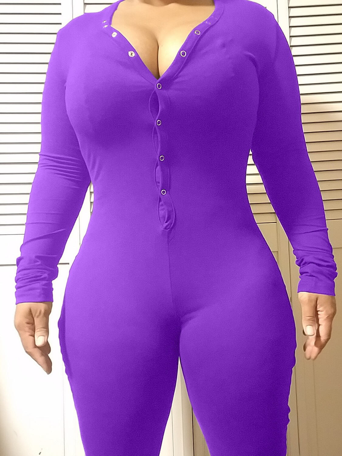 Women's Long Sleeve Shorts Playsuit, Casual, Party, Onesie Pajama Wear- PURE COLOR Purple
