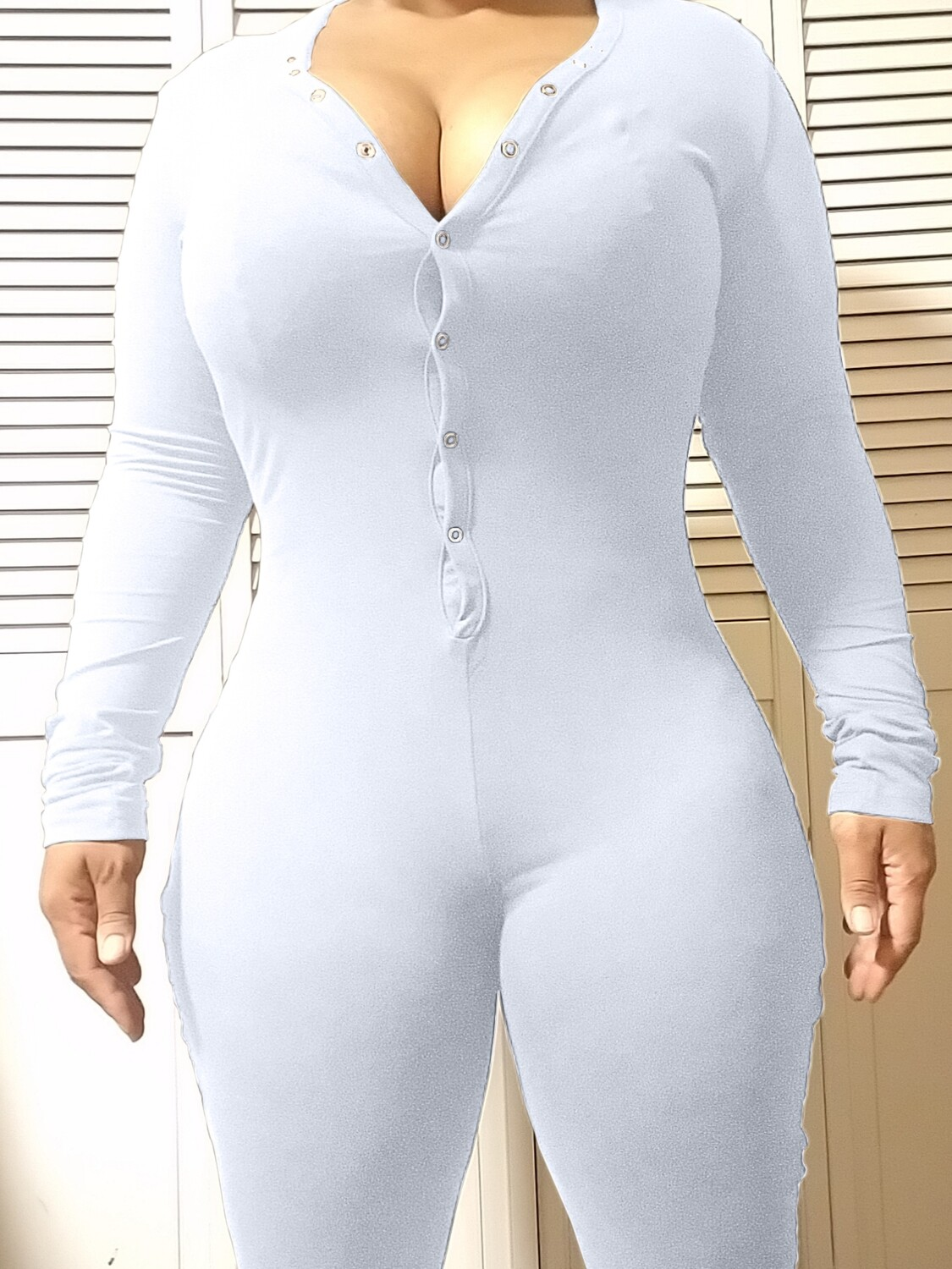 Women's Long Sleeve Shorts Playsuit, Casual, Party, Onesie Pajama Wear- PURE COLOR White