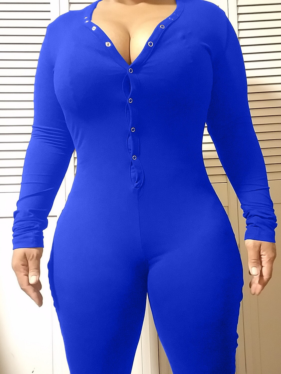 Women's Long Sleeve Shorts Playsuit, Casual, Party, Onesie Pajama Wear- PURE COLOR Royal Blue