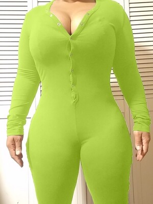 Women's Long Sleeve Shorts Playsuit, Casual, Party, Onesie Pajama Wear- PURE COLOR Lime Green