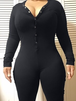 Women's Long Sleeve Shorts Playsuit, Casual, Party, Onesie Pajama Wear- PURE COLOR Black