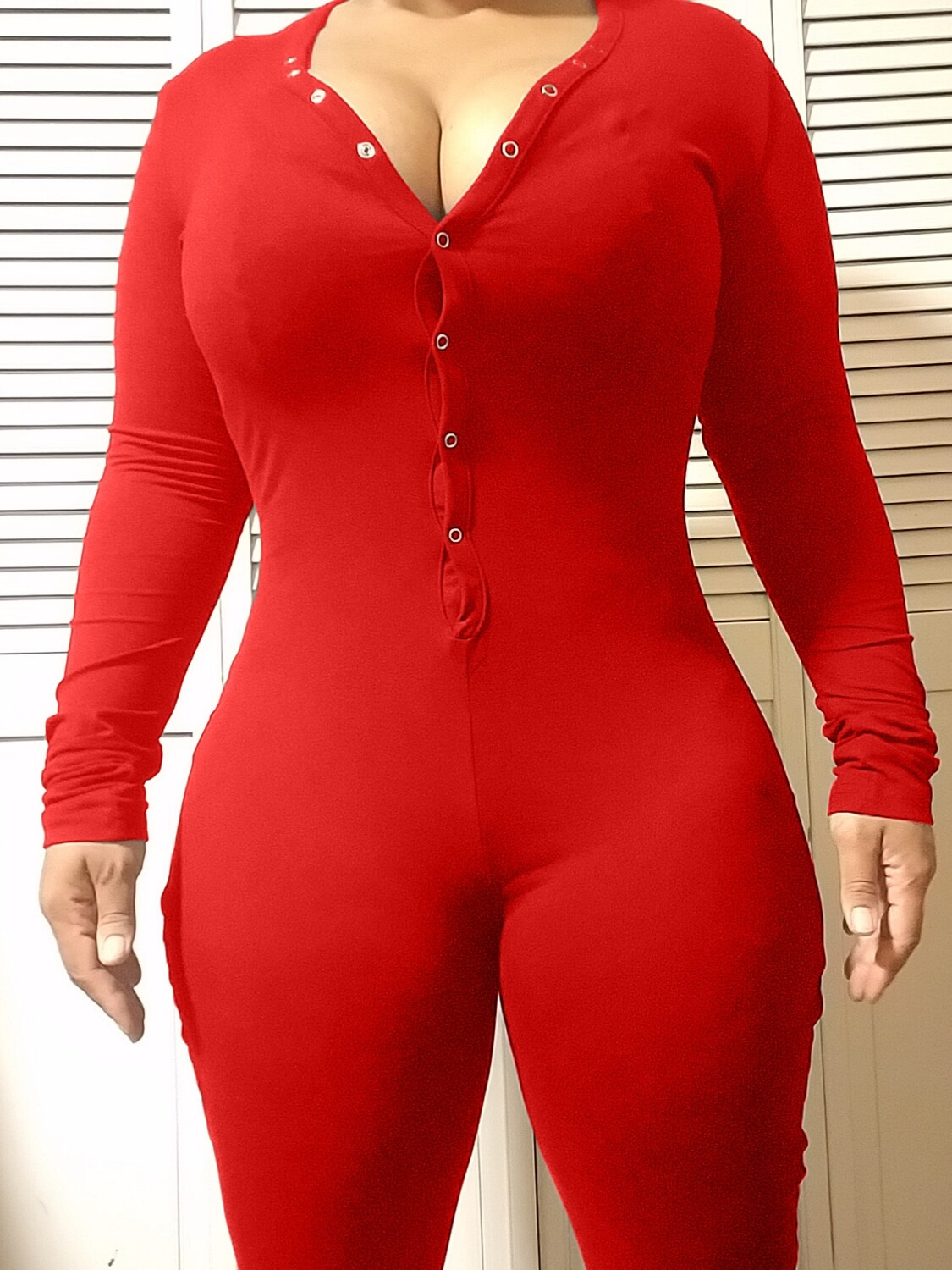 Women's Long Sleeve Shorts Playsuit, Casual, Party, Onesie Pajama Wear- PURE COLOR RED