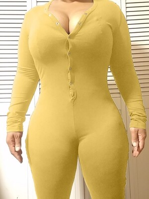 Women's Long Sleeve Shorts Playsuit, Casual, Party, Onesie Pajama Wear- PURE COLOR Yellow