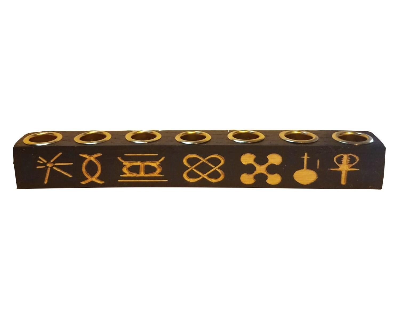 "Kwanzaa Kinara - Seven Principles of ""Kwanzaa"" Kinara -Black with Gold Finish"