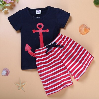 Boys Navy T and Red striped Trouser