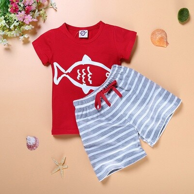 Boys Red T and Grey striped trousers