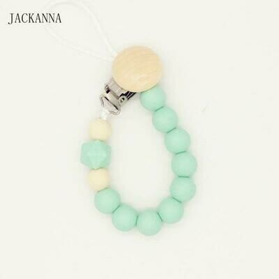 Pacifier Clip Mint Green Silicone Beads