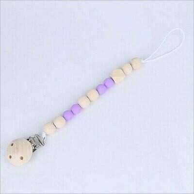 Pacifier Clip Purple Nylon Beads