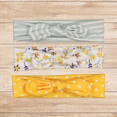 Headband Set 3PC Yellow and Floral