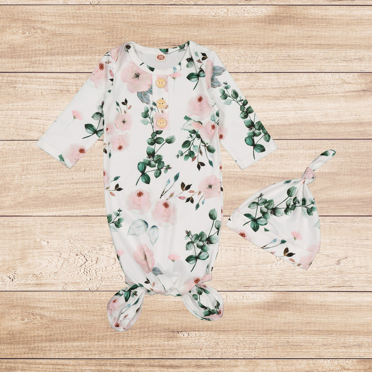 Knotted Onesie and Beanie White Floral