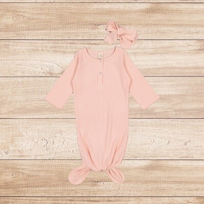 Knotted Onesie with Headband Peach