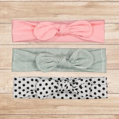 Headband Set 3PC Grey, Pink & Polka Dot