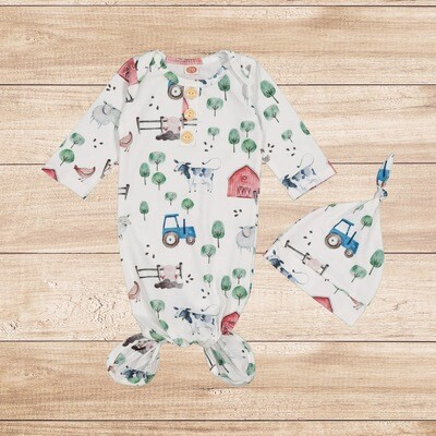 Knotted Onesie with Hoodie Farm Theme