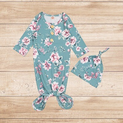 Knotted Onesie with Hoodie Green and Pink Floral