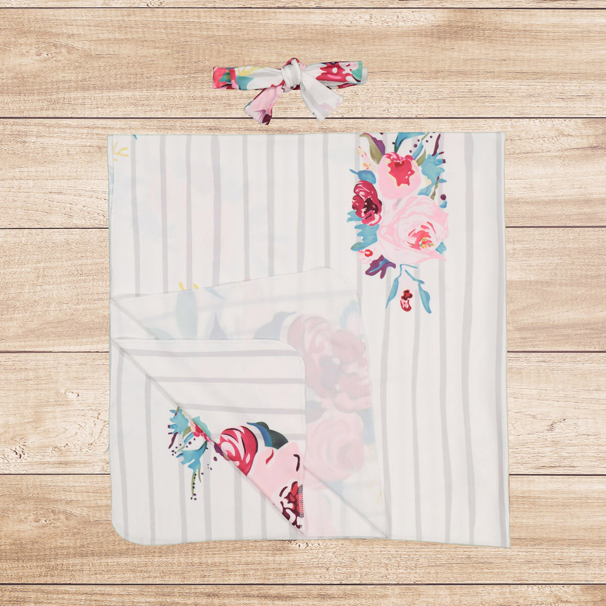 Swaddle Set with Headband Striped & Floral