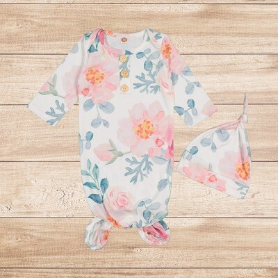 Knotted Onesie with Hoodie Water Color Light Floral