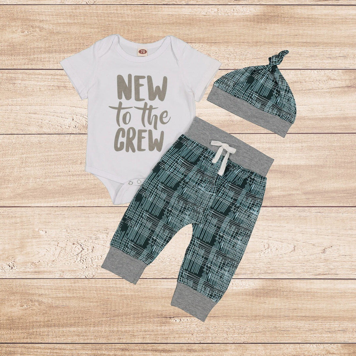 """Boys 3PC Grey & Blue """"New to the Crew"""""""