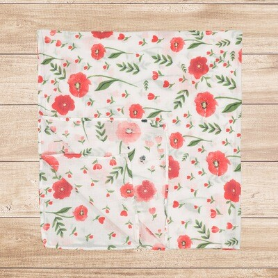 Muslin Blanket Red Floral 120x120cm