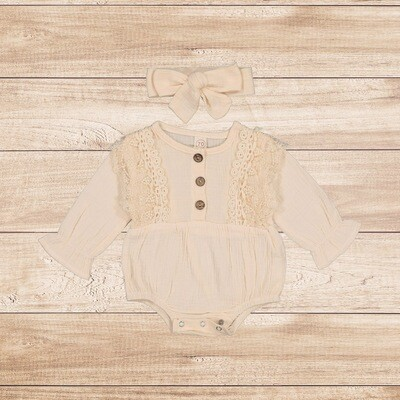Onesie Cream Cotton with Headband
