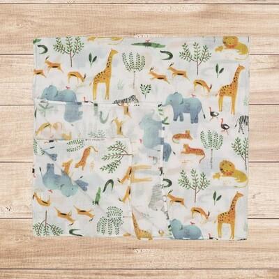 Muslin Blanket Safari Animals 120x120cm