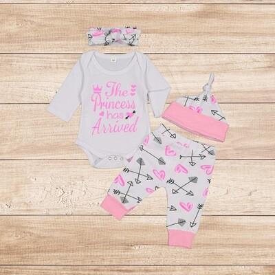 "Girls 4PC Princess ""Pink and White"""