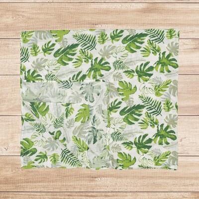 Muslin Blanket Green Floral 120x120cm