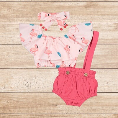 Romper Pink and Flamingo Blouse