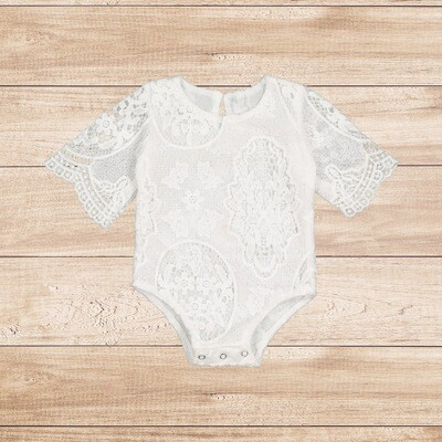 Romper White Lace Long Sleeve