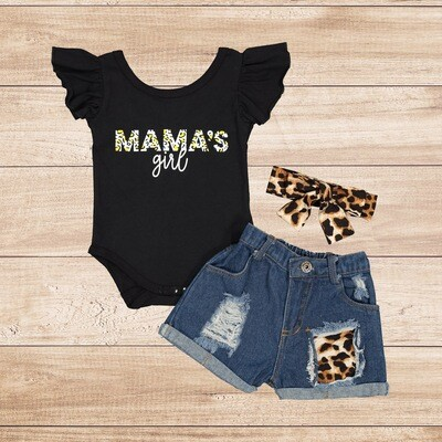 "Girls 3PC ""Black T with Ripped Jean Shorts"""