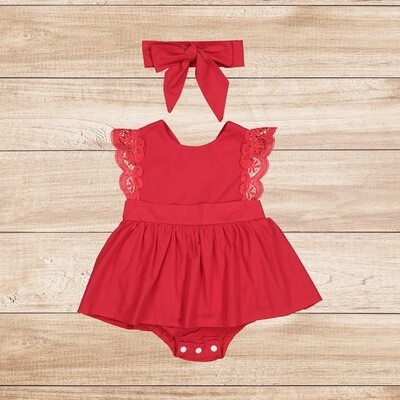 Romper Red with Lace