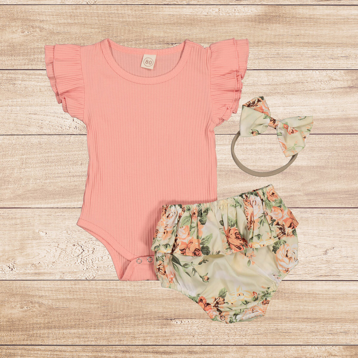 Romper Peach Vest with Floral Headband