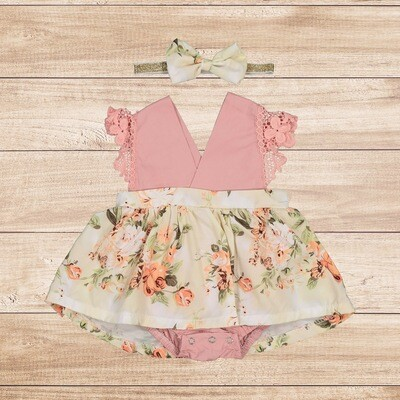 Romper Floral with Lace Sleeves and Headband Set