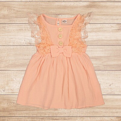Girls Peach Dress with Lace Sleeves