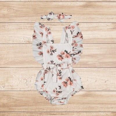 Romper White with Roses