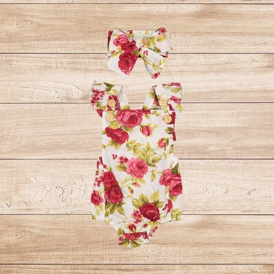 Romper red floral with headband