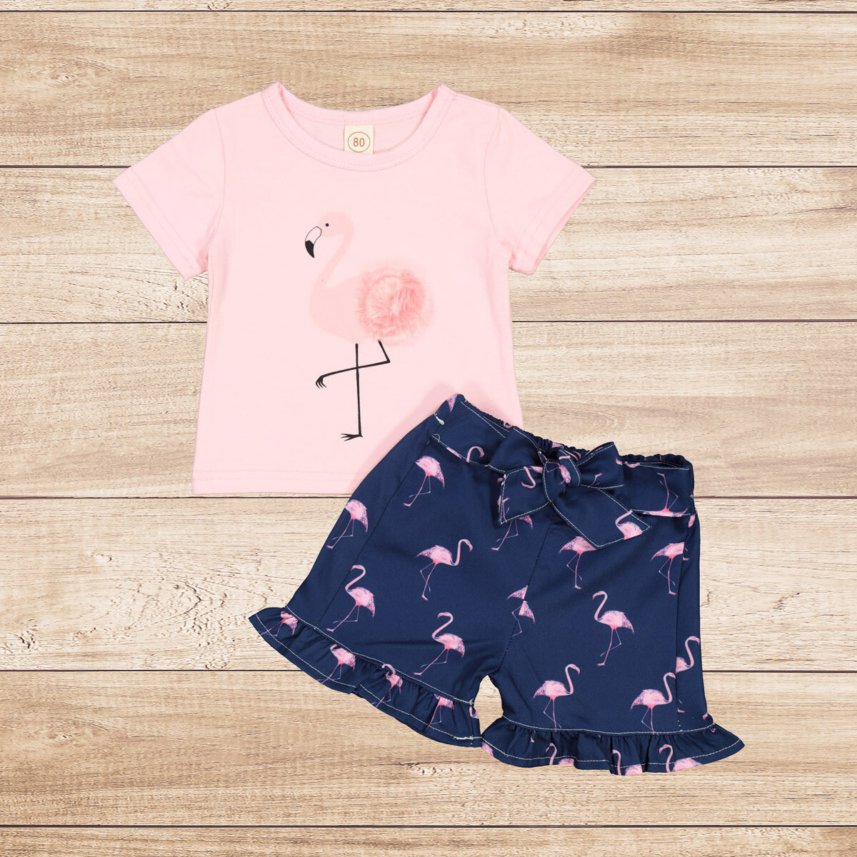 "Girls 2PC Pink T with Navy Skirt ""Flamingo"""