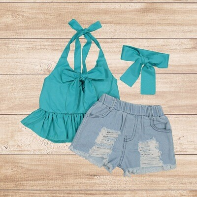 Girls 3PC Turquoise Blouse with Ripped Jean Shorts