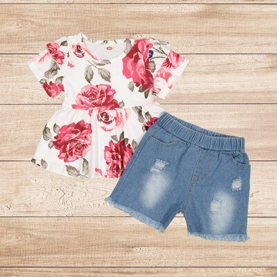 Girls 2PC Floral Blouse and Jean Shorts