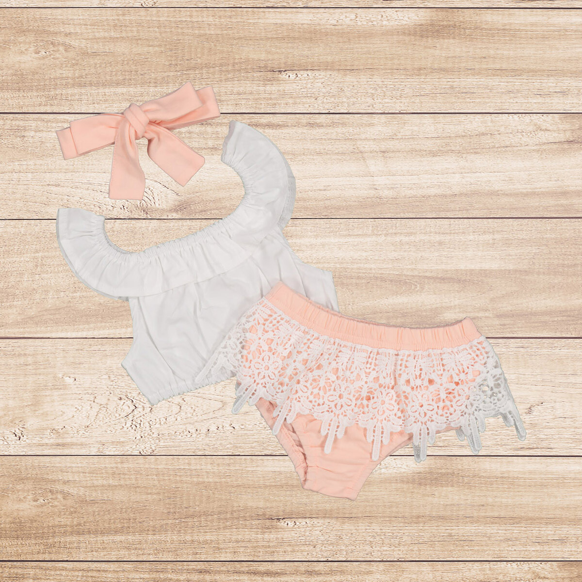 Girls 3PC White Ruffle Top with Pink Lace Romper with Matching Headband Set