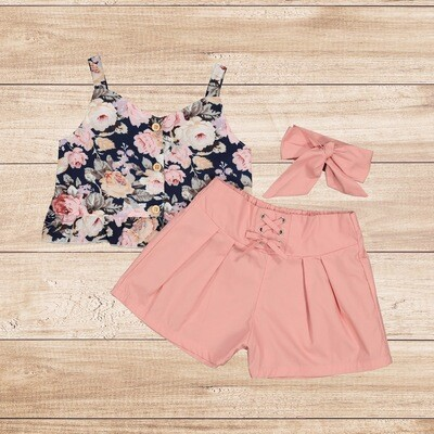 Girls 3PC Floral Blouse and Pink Trousers