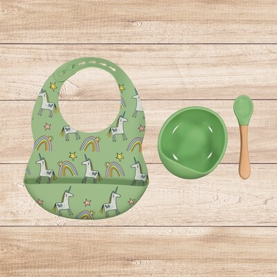Bowl and Bib Set Green Unicorn