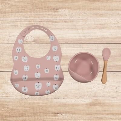 Bowl and Bib Set Blush Pink Apple