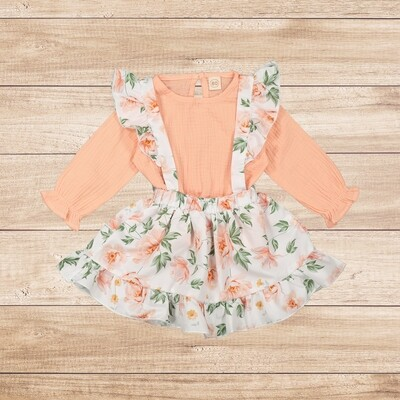 Girls Pink Blouse with Floral Skirt with Straps