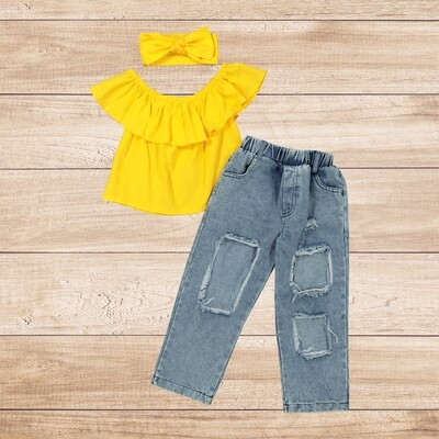 Girls 3PC yellow blouse with torn jeans and headband