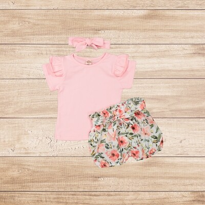 Girls 3PC Pink t with floral trouser