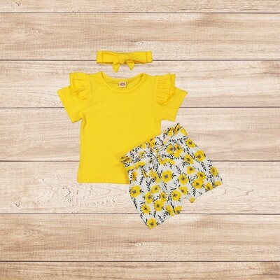 Girls 3PC yellow t with floral trouser