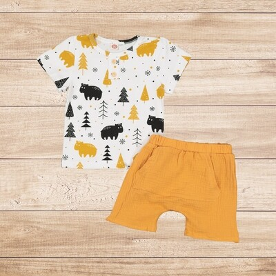 Boys 2PC Set Animal t with a Mustard cotton trouser