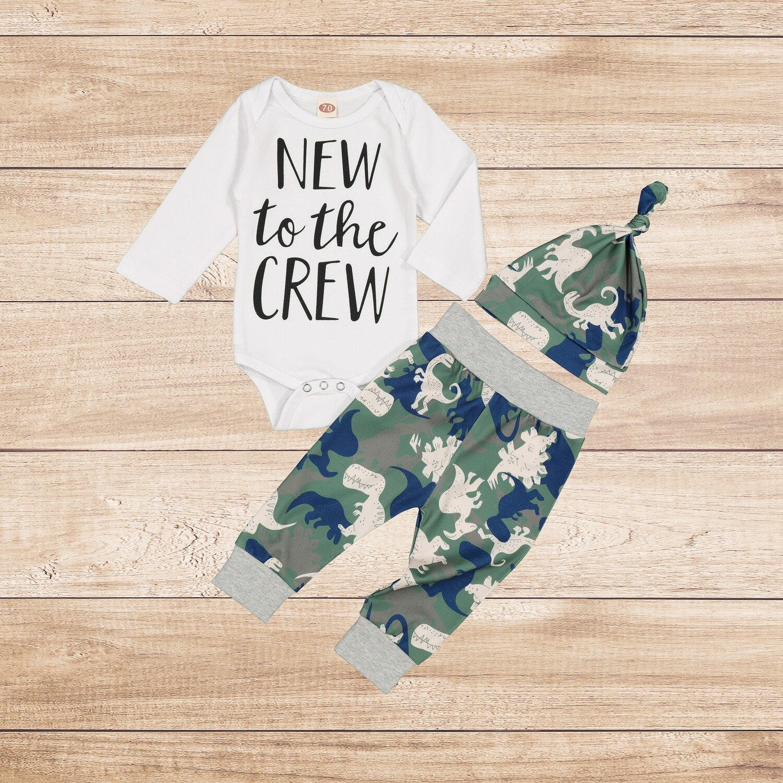 "Boys 3PC Dino ""New to the Crew"""