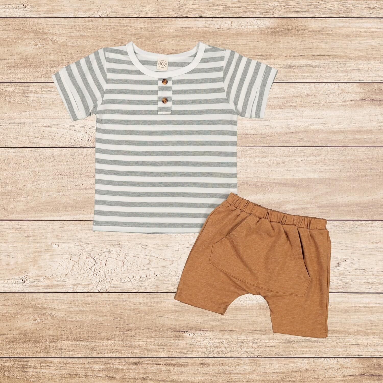 Boys 2PC Set stripes t with a brown cotton trouser
