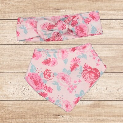 Bib Set Floral Pink